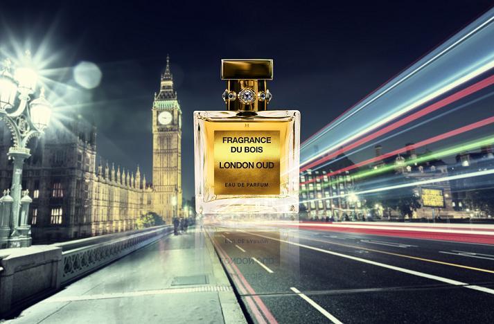 London Oud perfume against a London skyline at nighttime