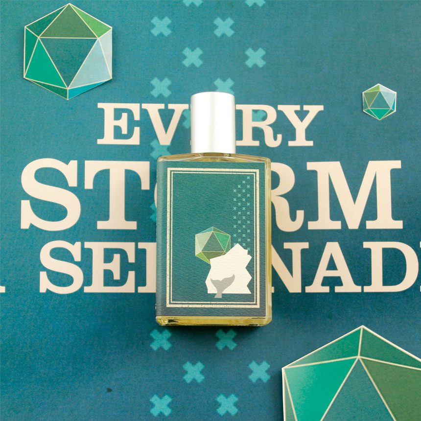 Every Storm a Serenade fragrance against a colorful green and blue background