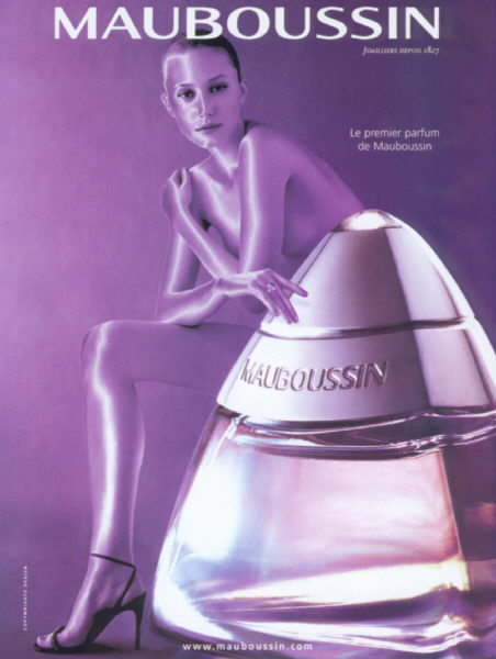 the original Mauboussin Mauboussin magazine advertisement with a slender woman next to the perfume bottle, all tinted purple